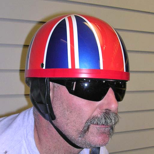 Dot Retro Style Helmet Union Jack Flag British Pudding