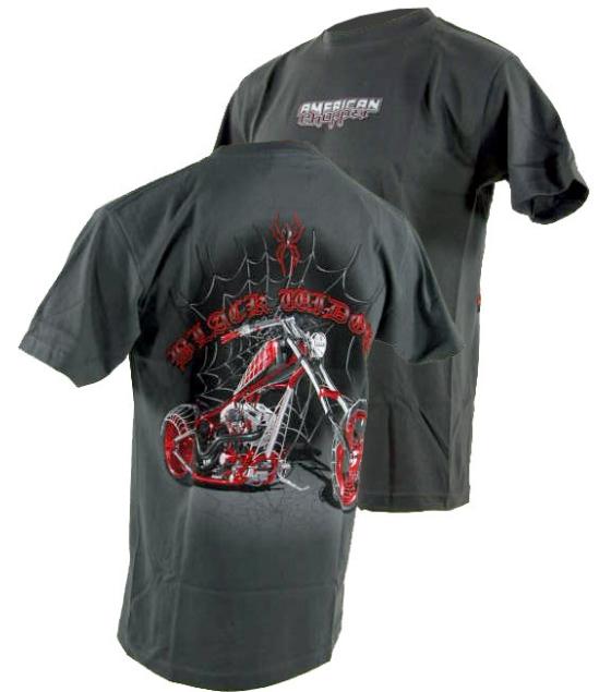 Tee shirt american choppers black widow for Custom dress shirts orange county
