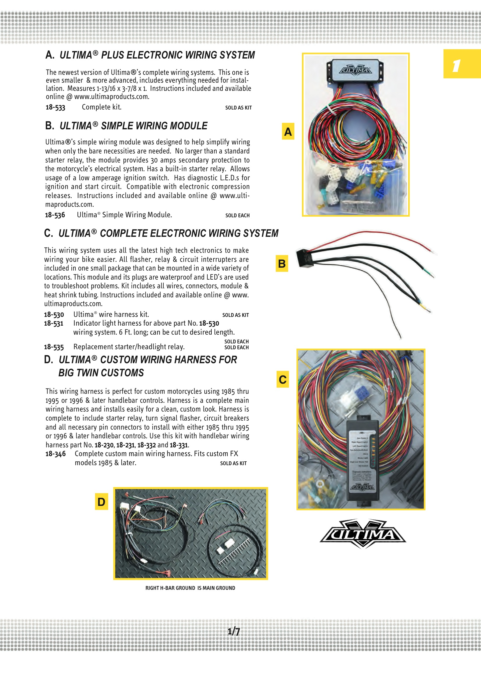 Ultima ULTIMA CUSTOM WIRING;HARNESS / BIG TWIN Midwest 18-346 on