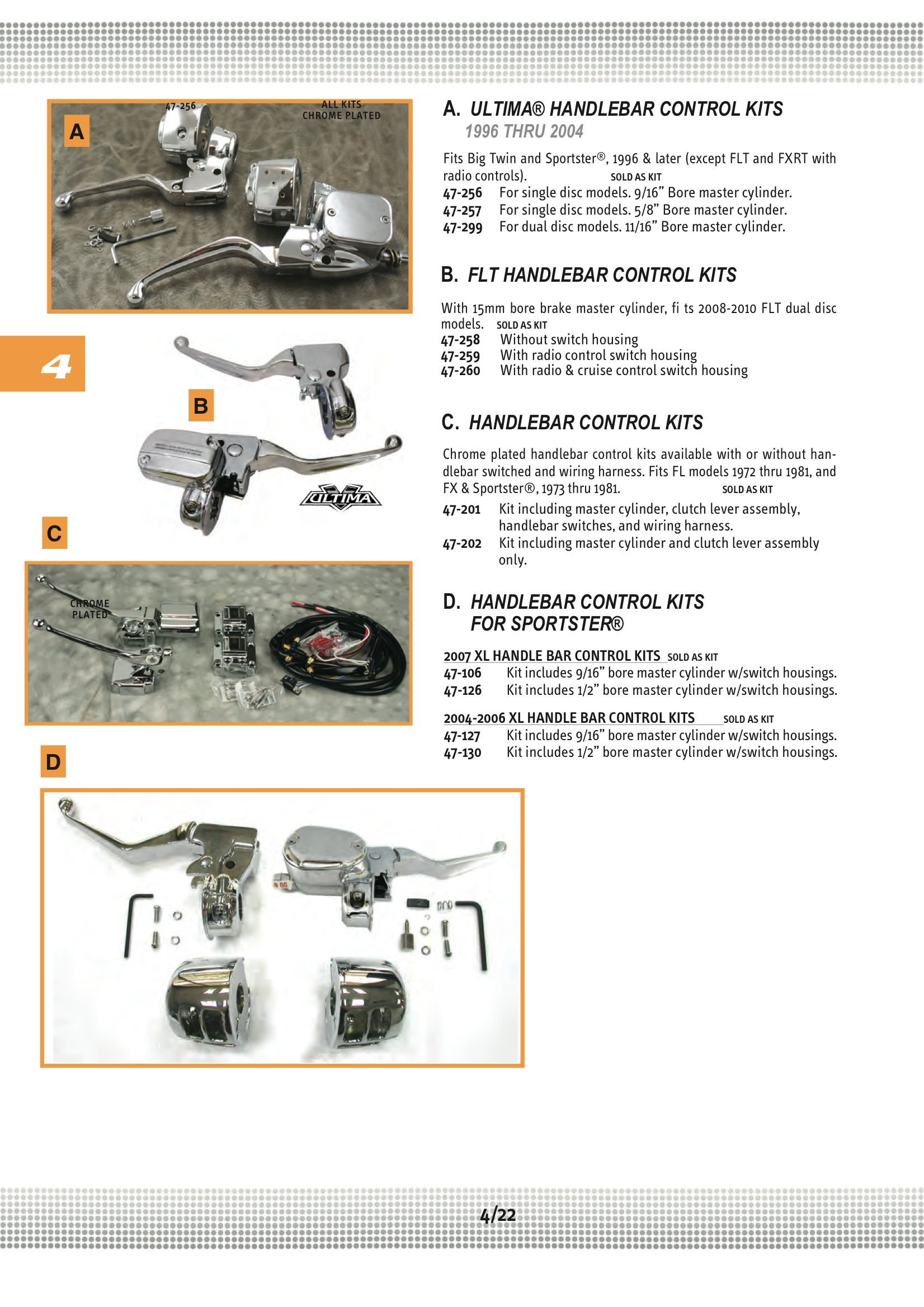 Ultima Handlebar Ctrl Kit 9 16in Bore 07 Midwest 47 106 Harley Davidson Switch Motorcycle