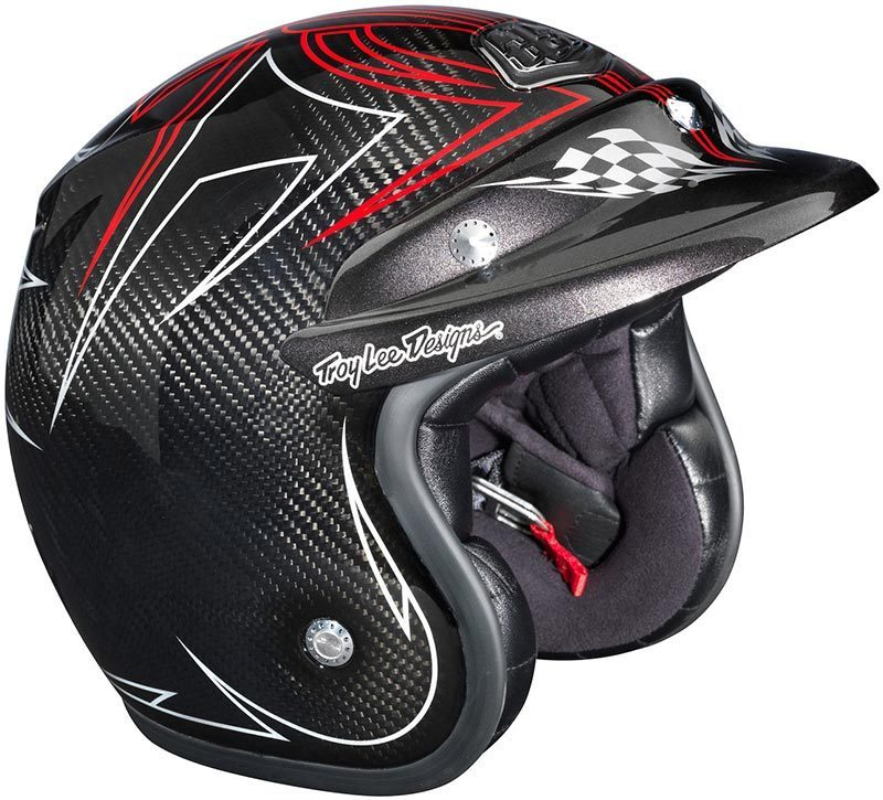 Troy Lee Design Open Face Helmet Carbon Pinstripe Xl Ece