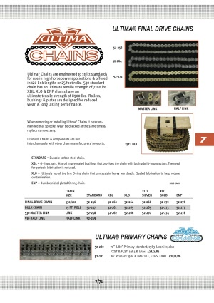 Ultima 530//120 XLO Gold Final Drive Chain for Most Harley Models