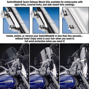 Switchblade Quick Release Windshields for Harley Davidson